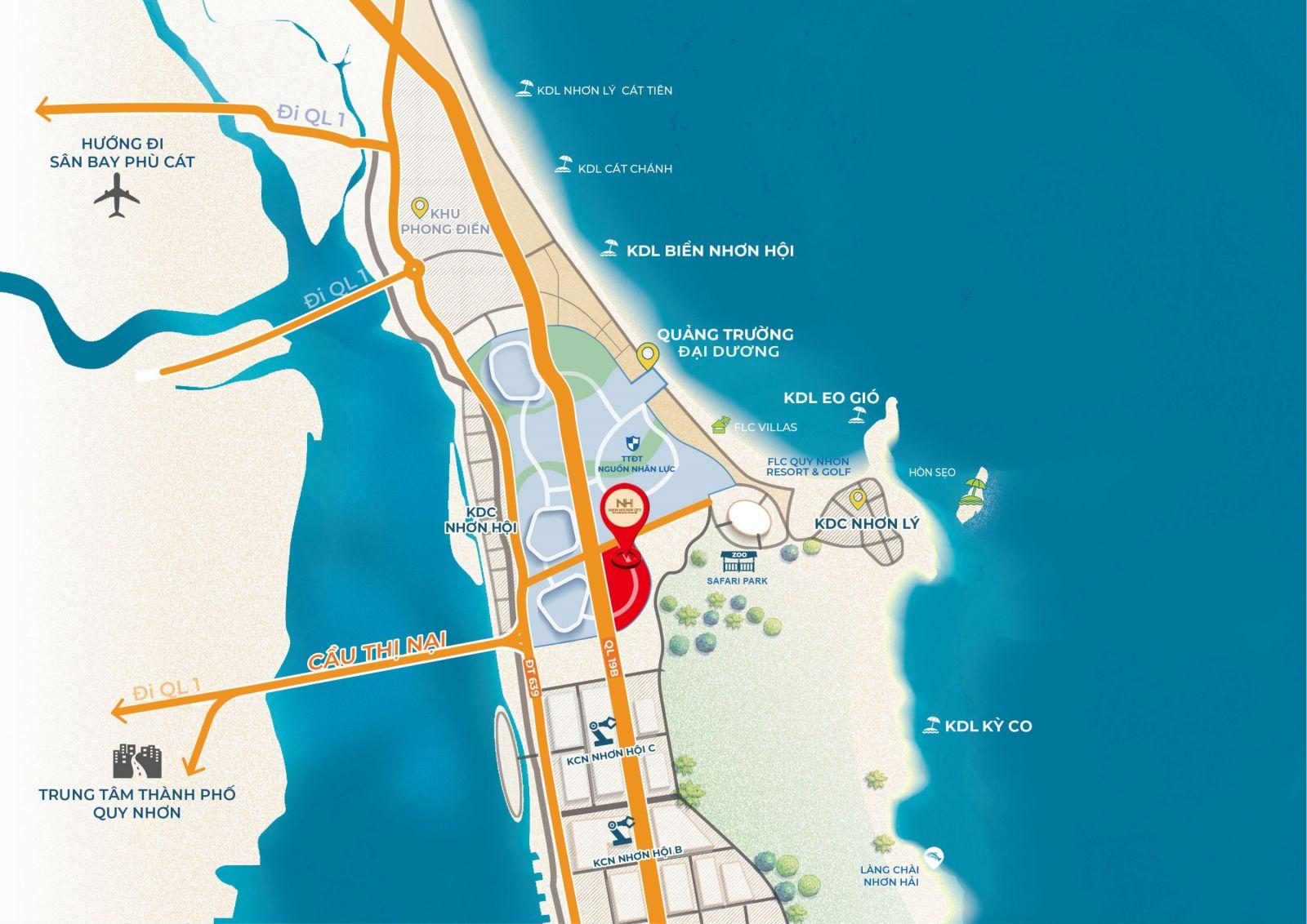 Vị trí Kỳ Co Gateway Nhơn Hội New City