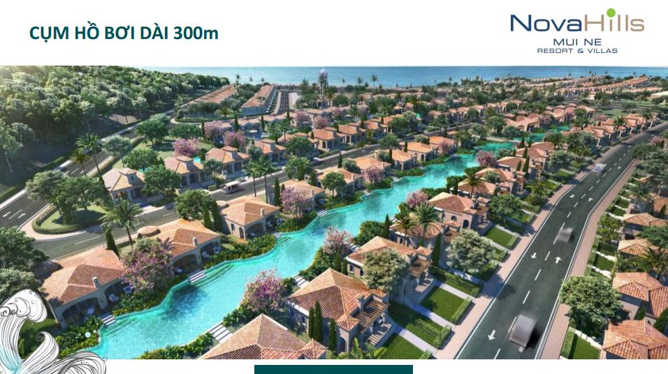 Novahills Mũi Né Resort & Hotels cụm hồ bơi dài 300m