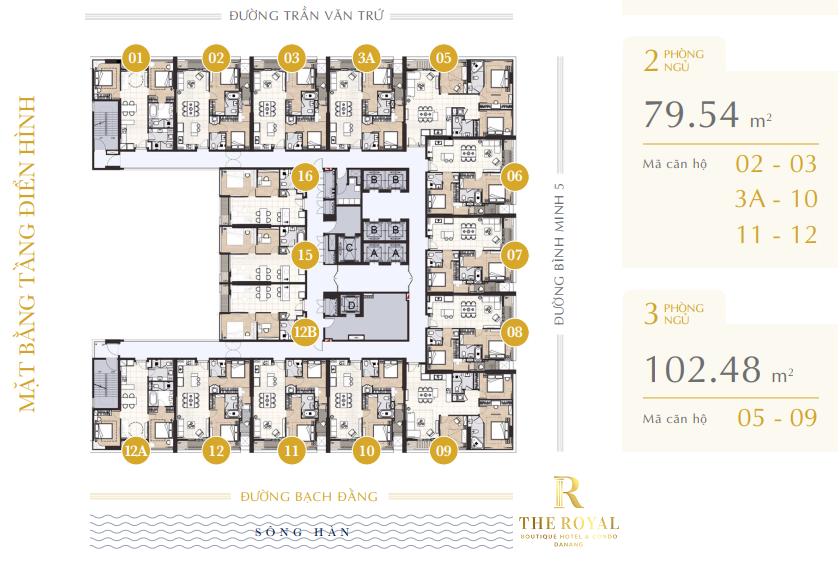 Dự án The Royal Boutique Hotel & Condo Đà Nẵng tầng điển hình