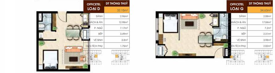Mẫu căn office-tel Dự án Jamona Heights