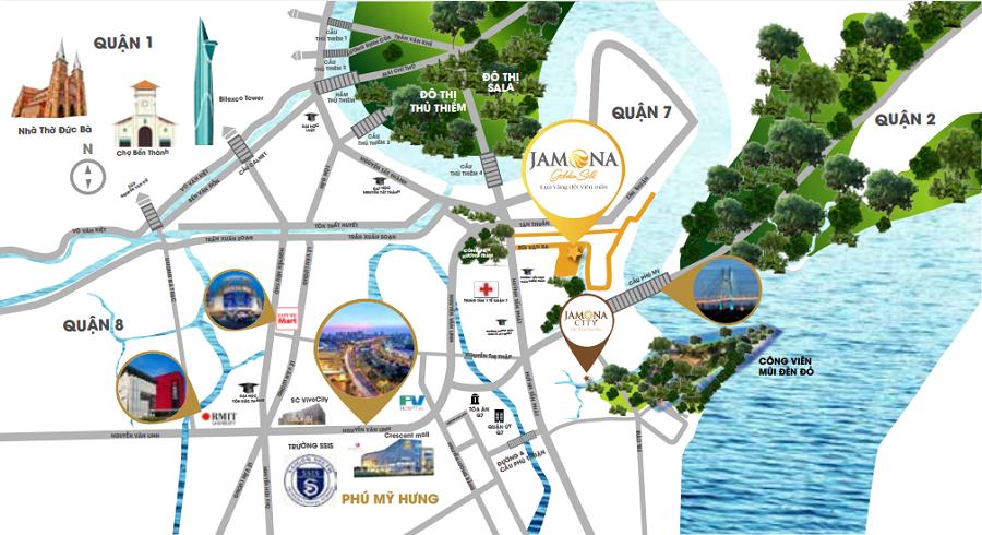 vị trí dự án jamona golden silk